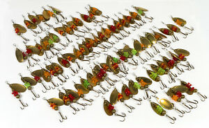 75 Salmon Egg Spinners - Brass Beads, Blades - Red Green Orange - New Old Stock