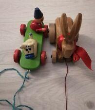 2 Holztier Holzspielzeug zum Hinterherziehen  Kleinkinder Nachziehtier  Vintage