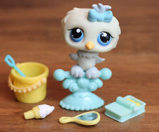 Littlest Pet Shop Baby Owl Blue Eyes #404 w/ Blue Bow, Mirror & Accessories Lot