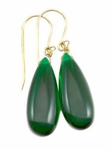 Emerald Green Earrings Simulated Long Smooth Teardrop Sterling or 14k Solid Gold