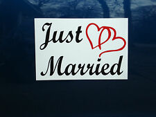 """JUST MARRIED CAR MAGNETIC SIGN 8""""X12"""" (2 Color) w/Hearts FREE SHIPPING! Wedding"""