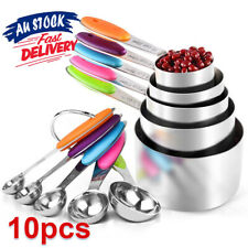 10pcs Set Spoons Stainless Steel Kitchen Baking Teaspoon and Measuring Cups AU