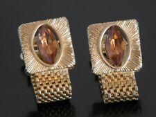 Vtg Jeweled Amber Stone Wrap Around Cufflinks Crystal Gold Tone