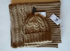 Michael Kors Knit Infinity Scarf and Michael Kors Cable Knit Winter Gloves,Camel