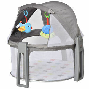 HOMCOM Baby Cot 2 In 1 Activity Gym Playmat Crib for Infants and Newborns