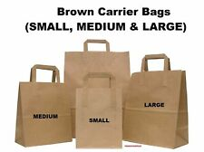 More details for brown kraft paper sos food carrier bags with handles party takeaway