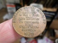 1916 Antique Coin, Fidelity Trust Co. Token Medal, Largest in the State