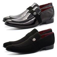 New Mens Italian Style Black Patent Leather Shoes Smart Slip On Formal Shiny UK