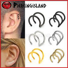 Fake Helix Hoop Earrings Ear Cuff Ear Cartilage Ring Dangle Clip On Non Piercing
