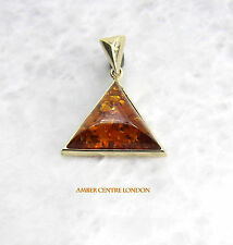 Italian Made Large Modern Amber Pendant in 9ct Gold-GP0060  RRP£145!!