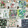 TROPICAL FLOWER CACTUS POLYESTER BATH SHOWER CARPET MAT RUG CURTAIN W HOOKS 71""