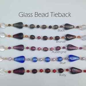 PAIR - Glass Bead Modern Curtain Drape Rope Tie Backs Beaded Tieback Tieband
