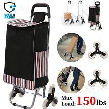 Folding Shopping Cart Grocery Trolley Laundry Stair Climb Handcart 6 Wheels