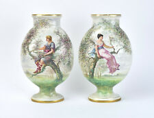Pair St. Denis Antique French Porcelain Vases Hand Painted Lovers Perched in Tre