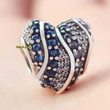 925 Sterling Silver Aqua Heart Charm Aqua London Blue Clear CZ Bead Fit Bracelet