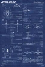 STAR WARS POSTER ~ CLASSIC TRILOGY DIAGRAM REBEL 24x36 Movie A-Wing B Y X-Wing