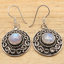 Fancy BLUE FIRE RAINBOW MOONSTONE Earrings ! 925 Silver Plated Wedding Jewelry
