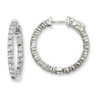 Sterling Shimmer Sterling Silver Rhodium Finish CZ Round Hoop Earrings 23mm