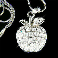 w Swarovski Austrian Crystal JUICY APPLE Fruit Charm pendant Chain Necklace Xmas