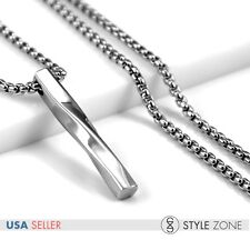 Unisex Men's Stainless Steel Stick Cylinder Twist Pendant Box Link Necklace P36