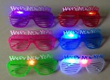 12/pk Light Up Happy New Year Party Sunglasses Glasses Glowing Eyes Led Shades