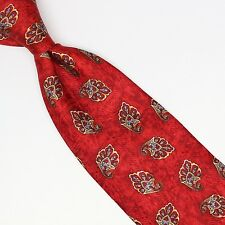Jos A Bank Silk Necktie Red Yellow Gold Gray Paisley Print Made in Italy Tipped