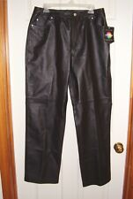NEWPORT-NEWS-LEATHER JEANS -BLACK- SIZE 14- NEW