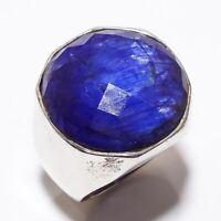 Blue Sapphire Gemstone Handmade Ethinc Style 925 Sterling Silver Ring Size 7 R-8
