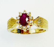 14KT YELLOW GOLD  GORGEOUS! LADIES RUBY AND DIAMONDS RING (10685R)