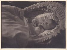 Vintage c1940s Post-Mortem Photograph - Baby, Child In Crib - Funeral, Mourning