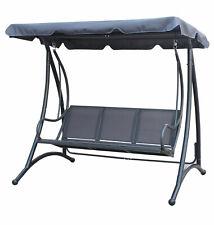 Charles Bentley Swing Sedile con tenda in Grigio-in acciaio verniciata a polvere - 3 posti