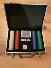 Poker Set In Case 200 Poker Chips Deck Of Cards 5 Dice Texas HoldEm Casino Game