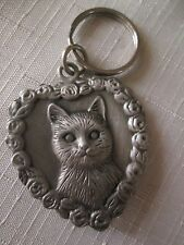 AVON VINTAGE*PEWTER CAT KEY CHAIN COLLECTION*1994*NEW IN STORE BOX*OLD STOCK