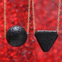 Unique Natural Black Lava Rock Geometric Triangle Pendant Necklace Women Gift