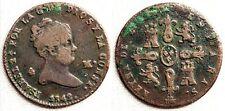 Isabel II. 4 maravedis 1842 Segovia. MBC-/VF- Sobrefecha 2 sobre1. Cobre 4,5 g.