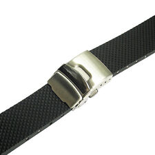 24mm Bonetto Cinturini Model 300D Mens Black Rubber Deployant Watch Band Strap