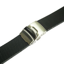 24mm Bonetto Cinturini Model 300D Mens Black Rubber Deployant Watch Band Strap