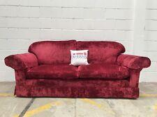 *Lovely Laura Ashley Red Crush Velvet 3 Seater Sofa L🇬🇧🇬🇧K*