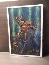 "SIGNED David Lozeau ""Catch or Release"" Art Print - Skeleton Ocean Tattoo Love"