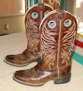 ARIAT Western Cowgirl Boots ROUND UP RYDER 10017390 Sassy Brown Cowboy Womens 9