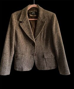 PER UNA UK 16 Italian Fabric Jacket Blazer Tweed Herringbone Wool Blend Lined