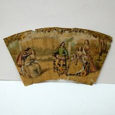 Antique 19th Century French Hand Painted Classical Scene Fan Fragment