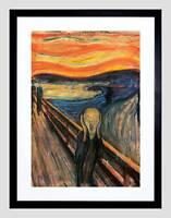 EDVARD MUNCH THE SCREAM OLD MASTER BLACK FRAMED ART PRINT PICTURE B12X2751
