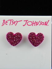 Betsey Johnson Fuchsia Metal FRUITY PETALS Pave' Heart Stud Earrings $28