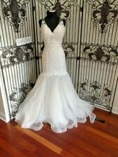 1290W  MAGGIE SOTTERO SZ 12 IVORY OVER ANTIQUE IVORY 8MC564  WEDDING GOWN DRESS