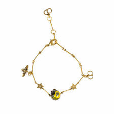 NWT CHRISTIAN DIOR Antique Gold/Multi-Color 'One Pearl And Charms' Bracelet