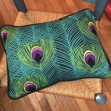 Navy Turquoise Blue Gold Peacock Pattern Throw Pillow Cushion Cover Cotton Canva