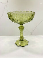 Vintage Fenton Rose Colonial Green Glass Compote Candy Dish Pedestal 7.5""