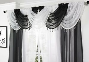 SALE BARGAIN !!  BEADED CRYSTAL  SHEER  VOILE SWAG CURTAIN  SECONDS