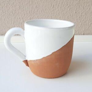 Earthenware Cup Handmade, Natural Terracotta Coffee Beverage Mug White